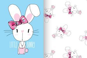 Little Bunny Hand gezeichnetes niedliches Kaninchen mit Mustersatz vektor