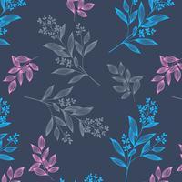 Handritad delikat botaniskt mönster