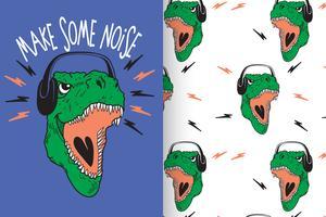 Machen Sie etwas Lärm Hand gezeichnete Dinosaurier mit Mustersatz vektor