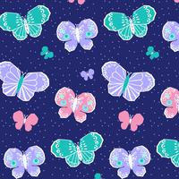 Handritad pastellfärgad rosa fjärilsmönster vektor