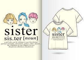 Handgezeichnete süße Schwestern vektor