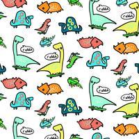 Handgezeichnete Skateboard Dinosaurier Muster