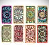 Visitenkarten im ethnischen Stil festgelegt. Vintage dekorative Elemente.