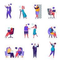 Uppsättning av platta människor sociala nätverk karaktärer