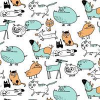 Hand gezeichnetes doof Karikaturhund und Katzenmuster
