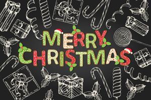 Bakgrund med hälsning offert -Merry Christmas och handritade doodles vektor