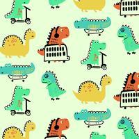 Hand gezeichnete bunte Dinosaurier, die Muster spielen