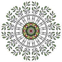 Blommig prydnad i mandala i etnisk stil