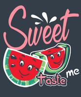 Süßer Geschmack ich Wassermelone vektor