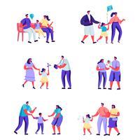 Uppsättning av platta människor glada stunder av familj karaktärer