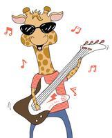 Giraffe, die Gitarre spielt vektor