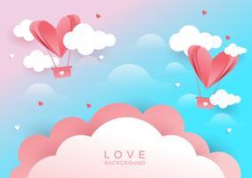 Herzen fliegen auf rosa Hintergrund