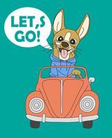 Handgezeichnete Let's Go Dog