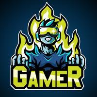 Gamer, Maskottchen-Logo, Aufkleber-Design vektor