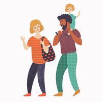 Lycklig familj på promenad vektor