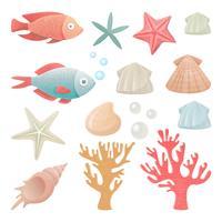 Set von Meeresbewohnern.