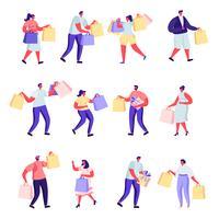 Uppsättning av platta människor som shoppar på köpcentret eller stormarknadstecken