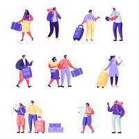 Uppsättning av platta människor familjen går på semester karaktärer vektor