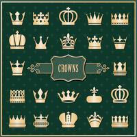 Guld krona ikoner set på damast vektor