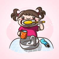 Kleines Mädchen, das ihre Zähne putzt. vektor