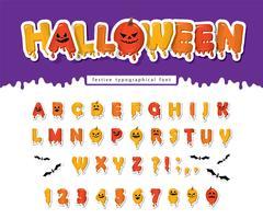 Halloween Kürbis Schriftart. vektor