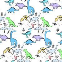 Hand gezeichnetes aktives Dinosauriermuster