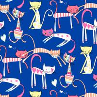 Handritad färgglada lyckliga kattmönster
