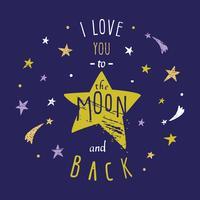 Jag du till månen tillbaka citat vektor