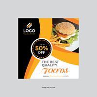 restaurang fyrkantig flygblad gul färg design vektor