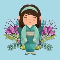 lilla japanska flickan kawaii med blommatecken