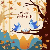 Blaue Vögel, die in Autumn Season Forest spielen