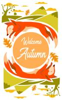 Fox-Illustration für Herbstsaison mit Blättern und Berg