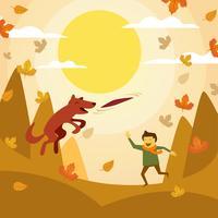 Mann, der Frisbee mit Hund in Autumn Season spielt