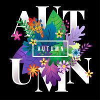 Herbsttextblumenblumen-Designnatur