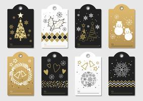 Uppsättning vektor nyår och julklapp etiketter.