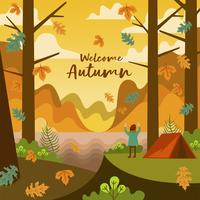 Leute, die in Autumn Fall Season In The Forest kampieren