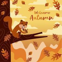 Nettes Squirly isst Nuss-Illustration für Herbst-Jahreszeit mit orange Hintergrund