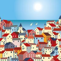 Landskap med hav, färgglada hus och yachter.