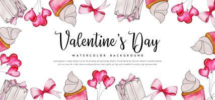 Akvarell Cupcake Valentine Banner