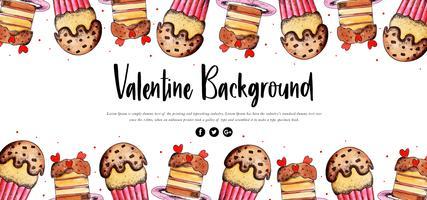 Cupcake akvarell Valentine Banner
