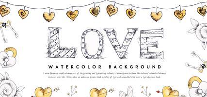 Valentine Banner Handzeichnung