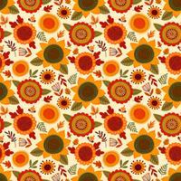 Nahtloses Volksmuster mit Herbstblumen, -blättern und -beeren.