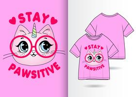 Stay Pawsitive Kitty T-shirtdesign