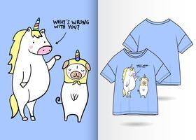 Rolig enhörningshandritad t-shirtdesign vektor