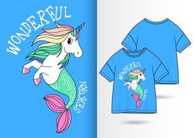 enhörning sjöjungfru havskorn handritad t-shirt design vektor