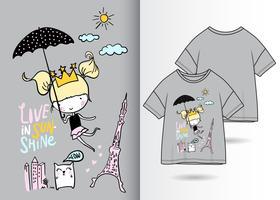 Leben Sie im Sonnenschein-Hand gezeichneten T-Shirt Entwurf