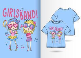 Mädchen-Band-Hand gezeichneter T-Shirt Entwurf