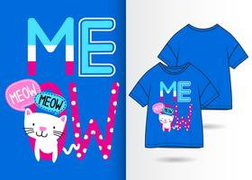 meow handritad katt t-shirtdesign