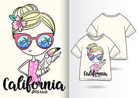 Kalifornien träumt Hand gezeichnetes Mädchen-T-Shirt Design