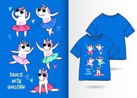 Tanz mit Einhorn handgezeichneten Tshirt Design